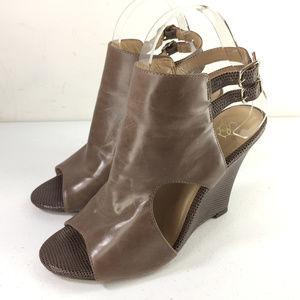 Ann Taylor 7 brown Leather Wedge Sandal Peep Toe